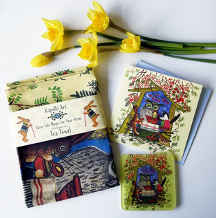 Owl gifts. card. tea towel. glass coaste