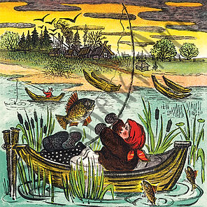Lady fishing card. Yuri Vasnetsov