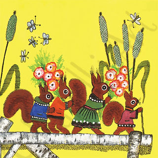 Little Red Squirrels with Flowers Card