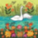 White Swan Floral Card. Yuri Vasnetsov.