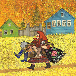 Shopping Greeting Card. Russian art.