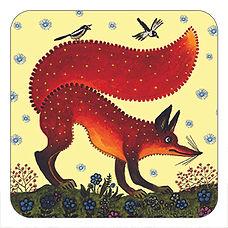 Red fox gift, cork coaster, Yuri Vasnetsov