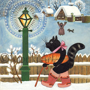 Black Cat with a Loaf. Winter Greeting Card. Yuri Vasnetsov.