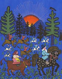 Yuri Vasnetsov illustrations riding hors