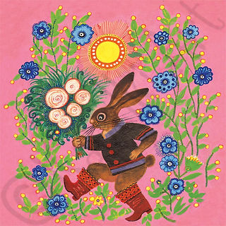 Happy Hare with Flowers. Yuri Vasnetsov.