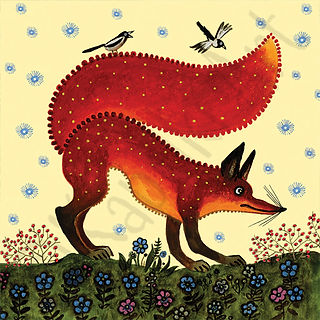 Red Fox art, Yuri Vasnetsov, art cards U
