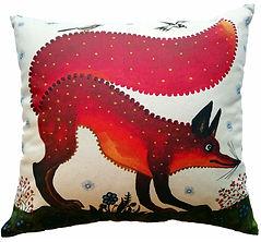 Red fox cushion cover. fox art decor. Yu