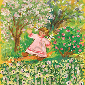 Cute Girl in the Garden Greeting Card