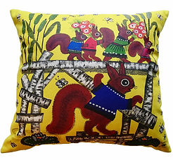 Red squirrels yellow cushion cover. Fun