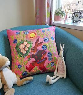 Pink Bunny nursery cushion cover, colour