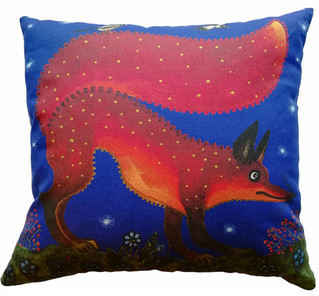 Red fox blue cushion cover. Yuri Vasnets