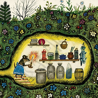 Little mouse larder, burrow, Yuri Vasnet