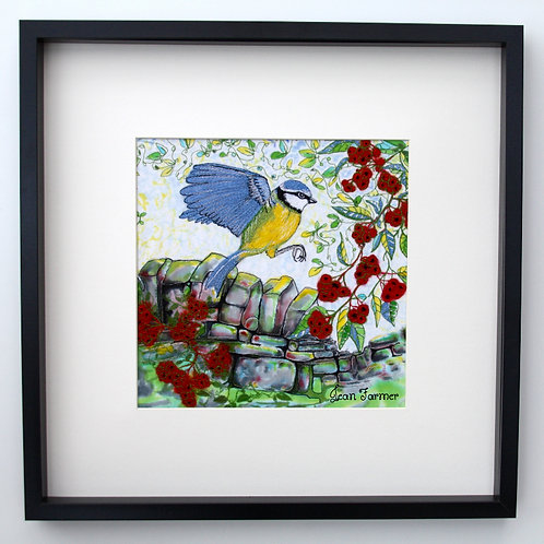 Blue Tit In Rowan Berries (Large Original Embroidery)