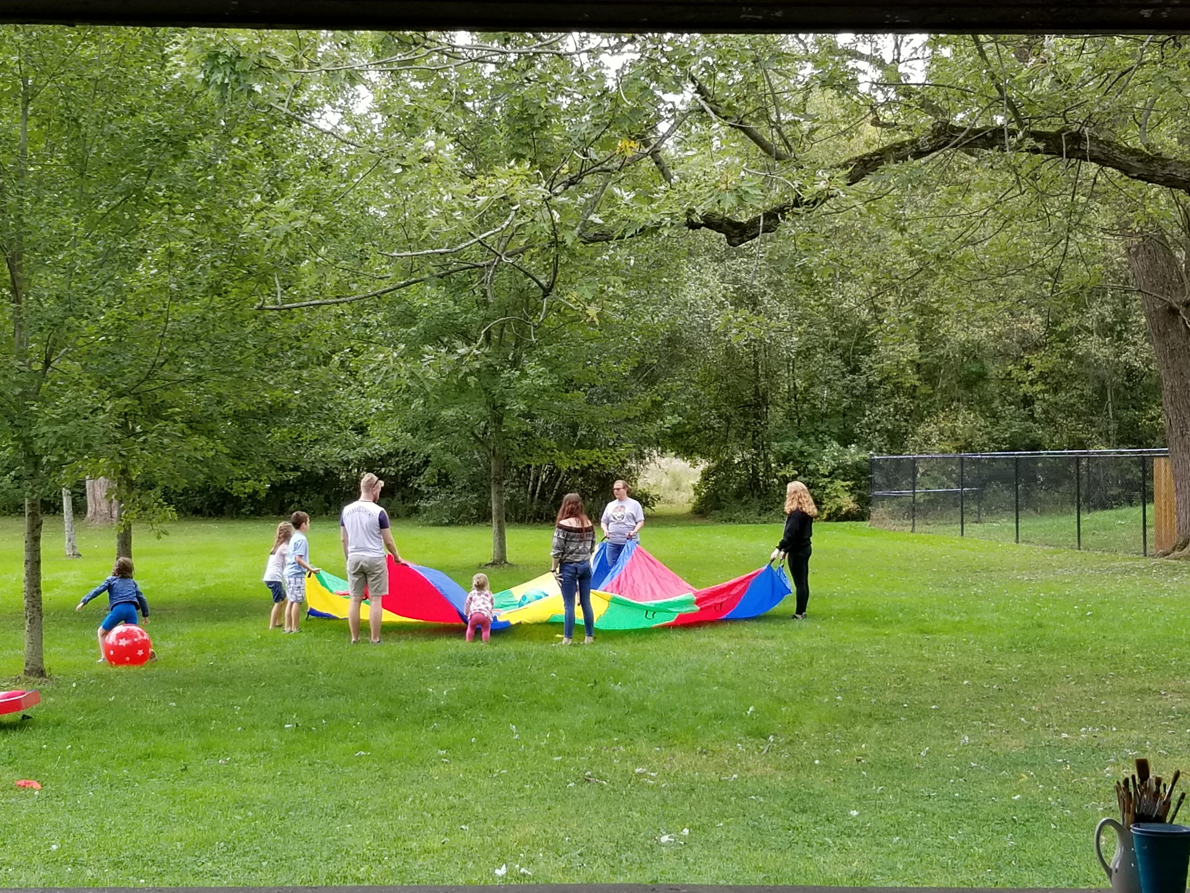 parachute play at the picnic