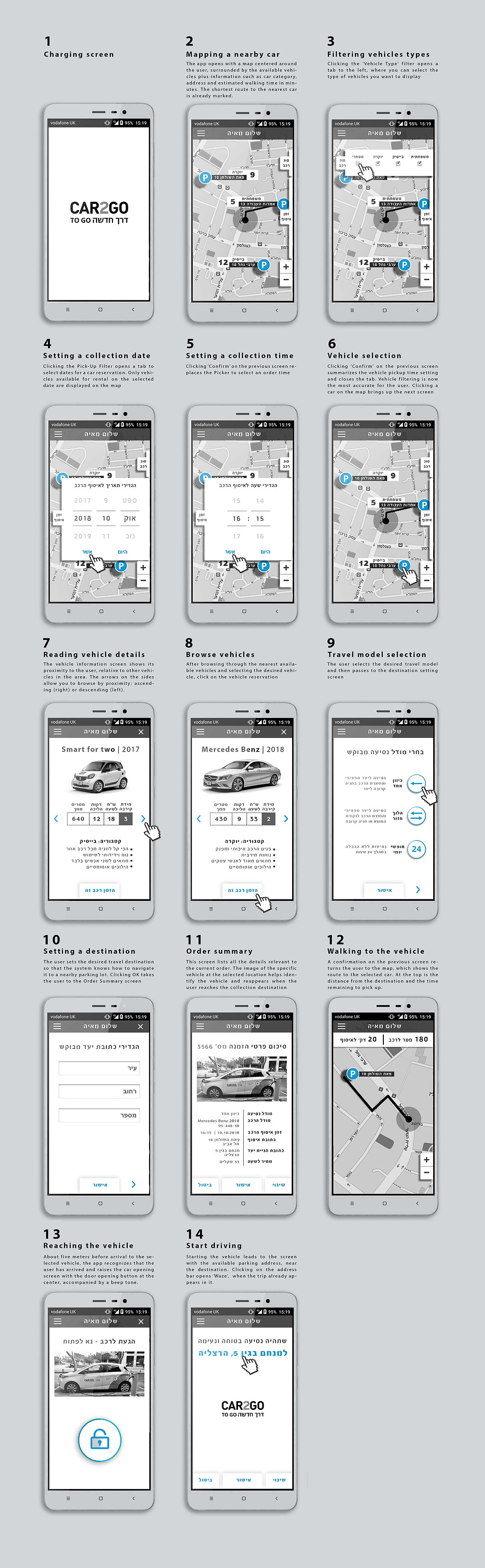 Mobile App Car2go by Assaf Israel Englis
