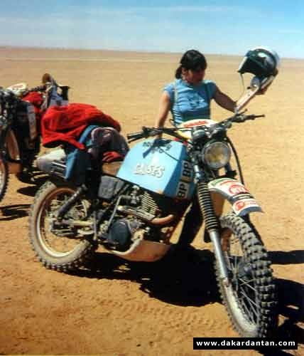 Marie Ertaud on her XT 500 in the 1979