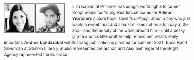 Publishers Weekly Oliver's Lollipop Allison Wortche Andres Landazabal