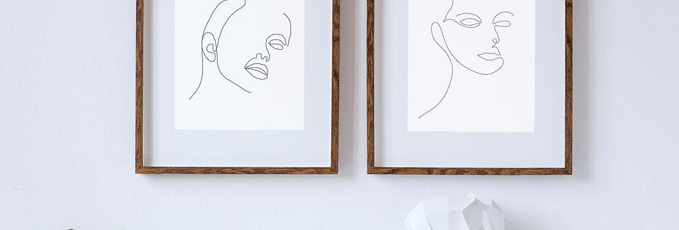 Feminine Face   Single Line Drawing