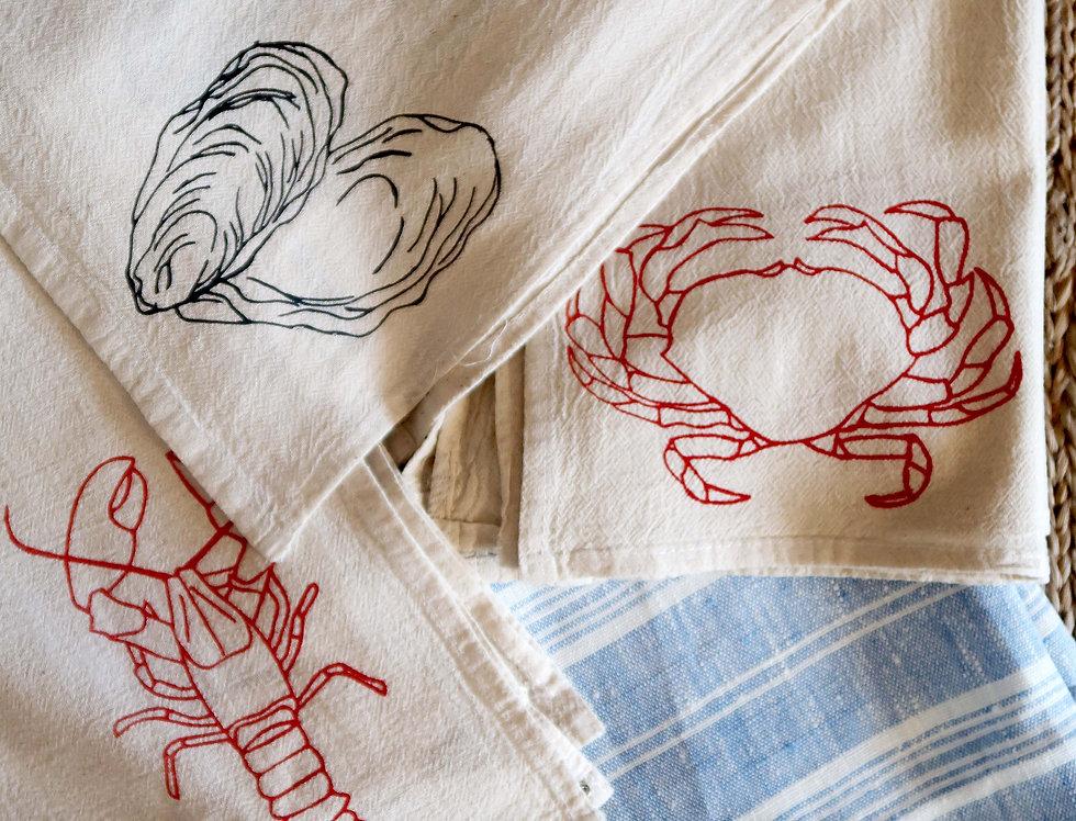 Shell Fish Tea Towels   Set of 2