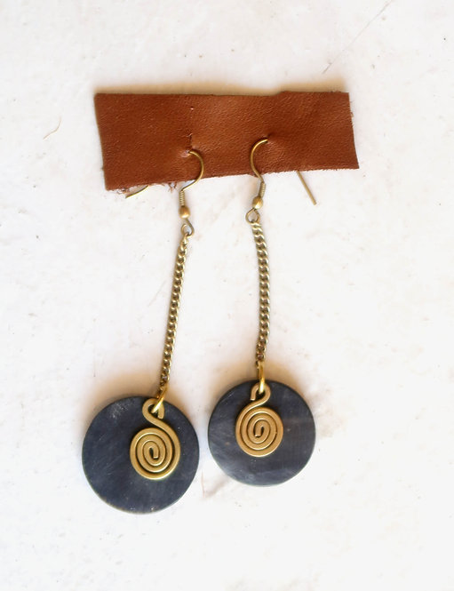 Bone & Brass Dangle Earring (BLK)