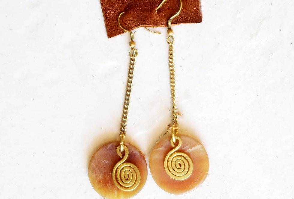 Bone & Brass Dangle Earring (BRN)