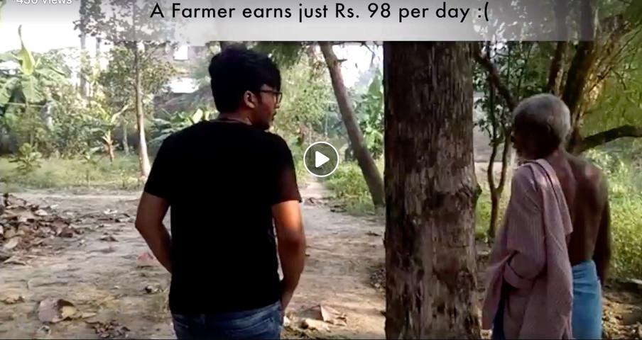 Vipra Goyal with farmer in Bihar