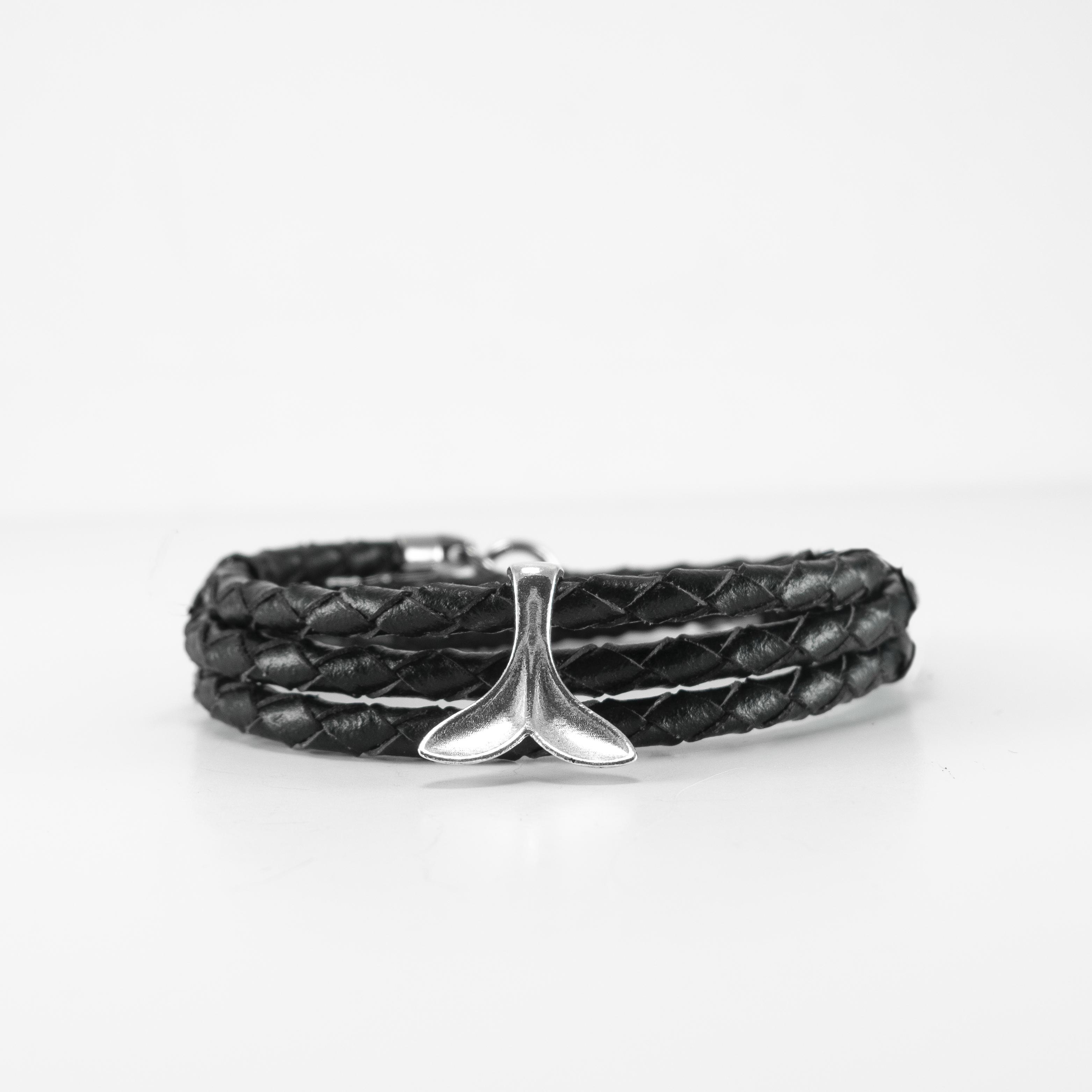 black braided wrap w whale tale bracelet
