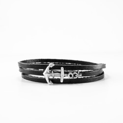black leather wrap w silver anchor 1
