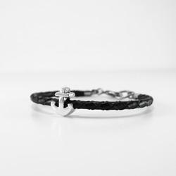 black braided cuff W brass anchor bead 1