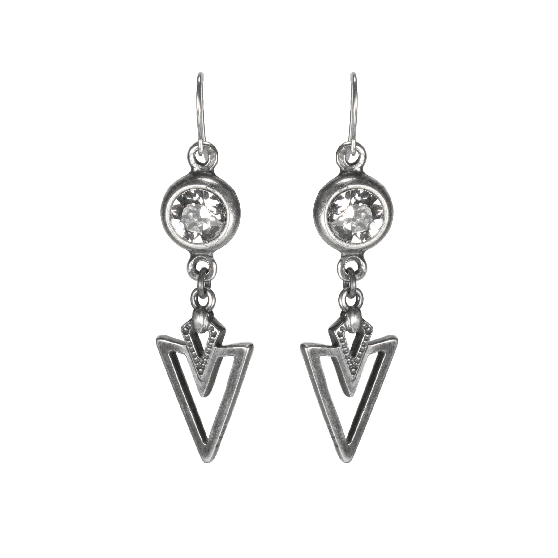 triangle silver clear crystal earrings 2