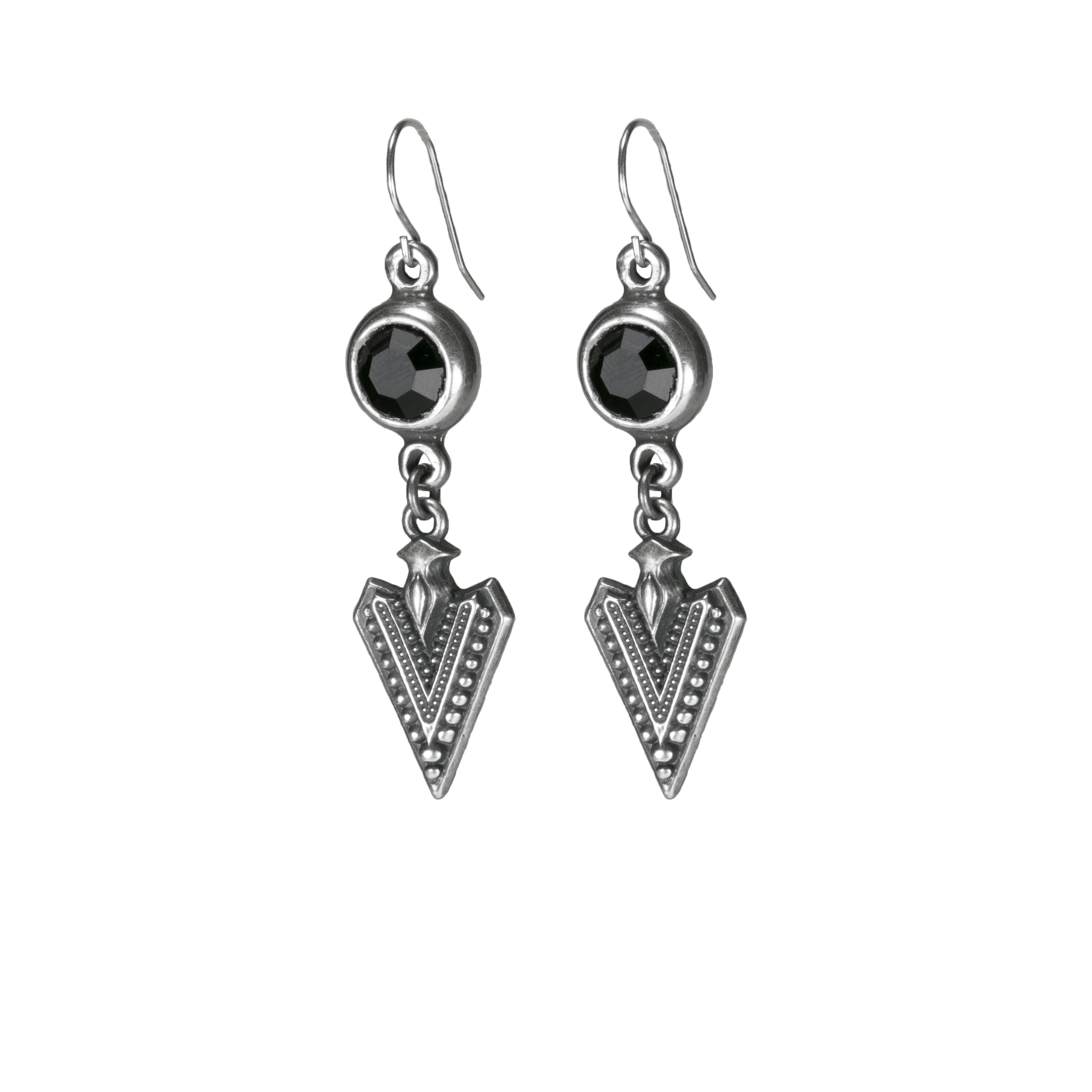new long arrow earring silver black crys