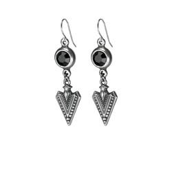 new long arrow earring silver black crys