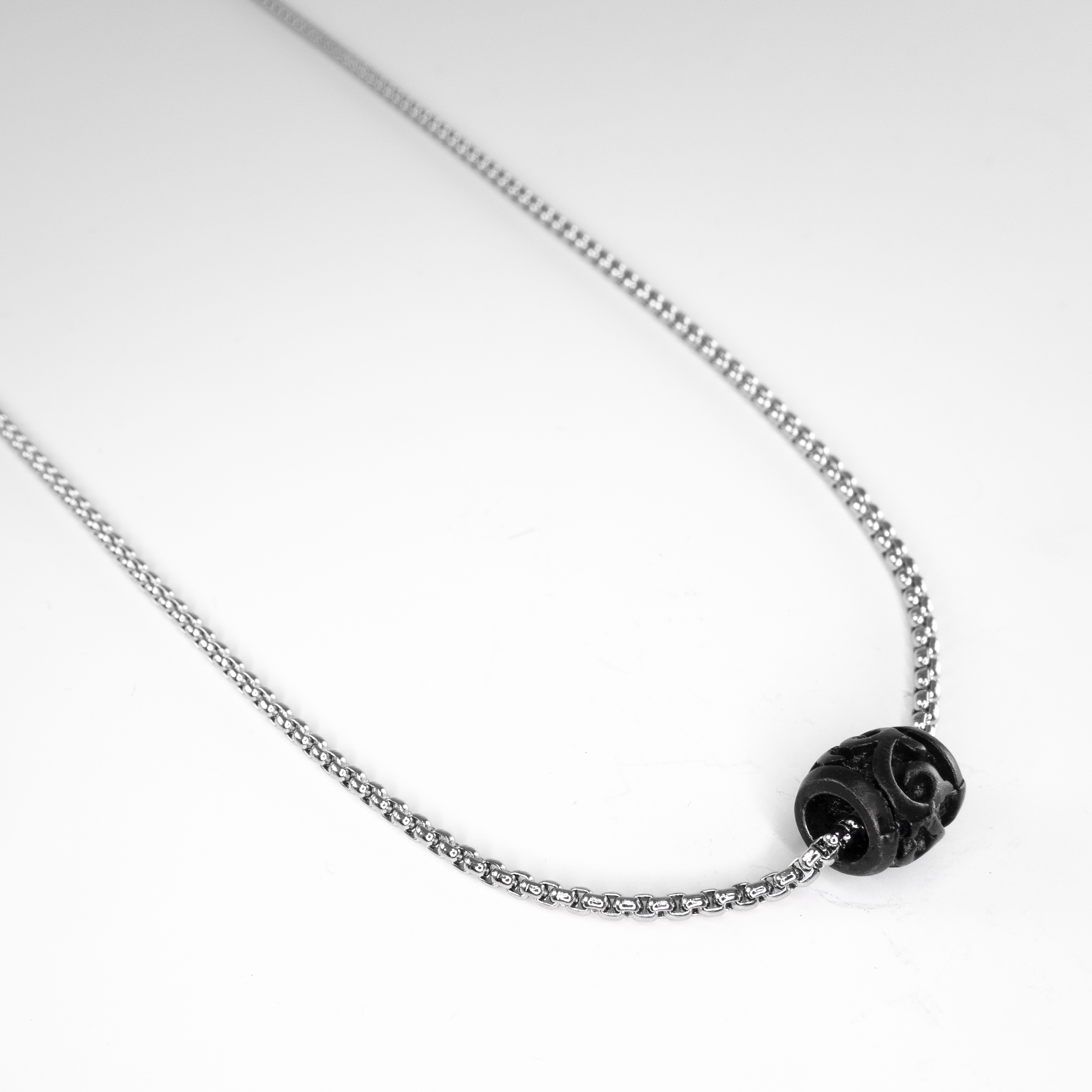 black bead SS chain necklace 1