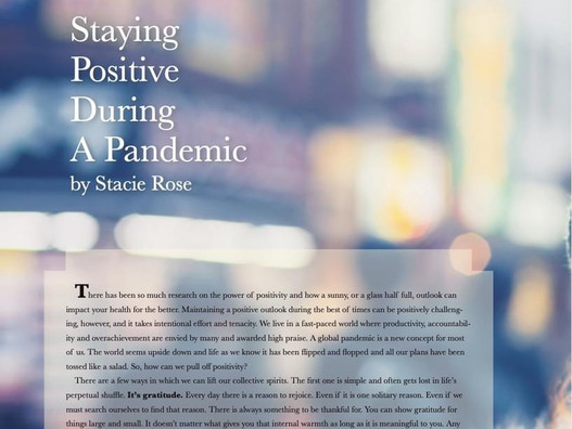 STAYING POSITIVE AND HEALTHY DURING A PANDEMIC (BC The Mag Fall 2020 Health, Beauty & Fitness issue)