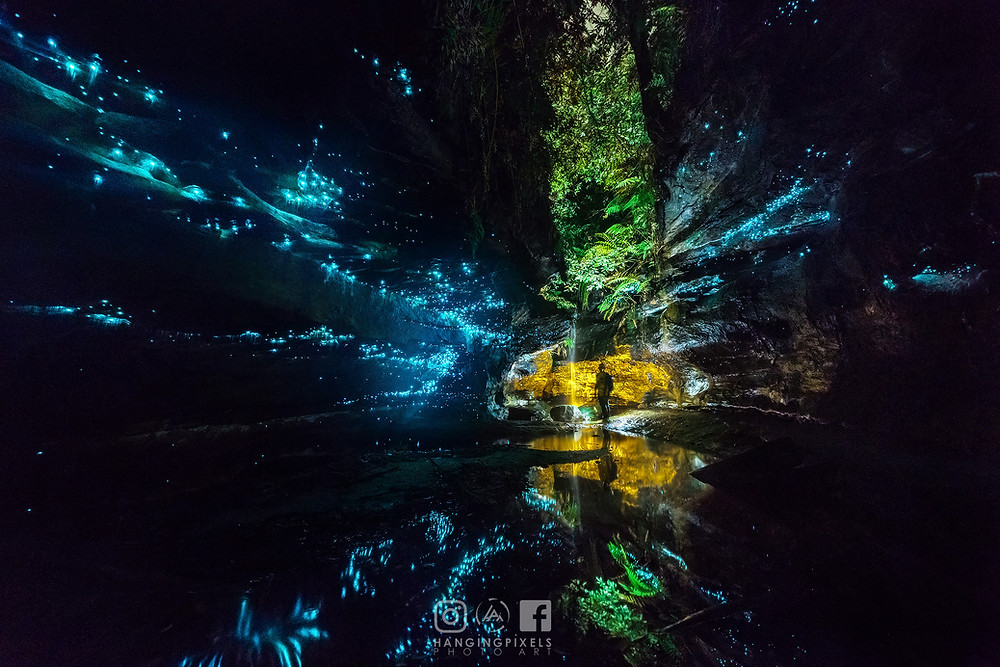 Glowworms and waterfalls in the background