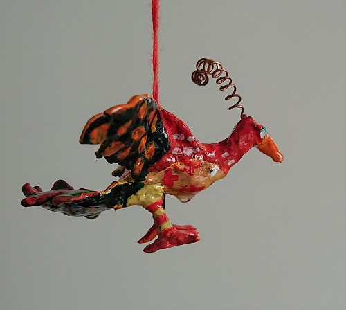 coloured bird ornament