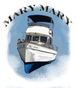 A t-shirt image of our trawler.