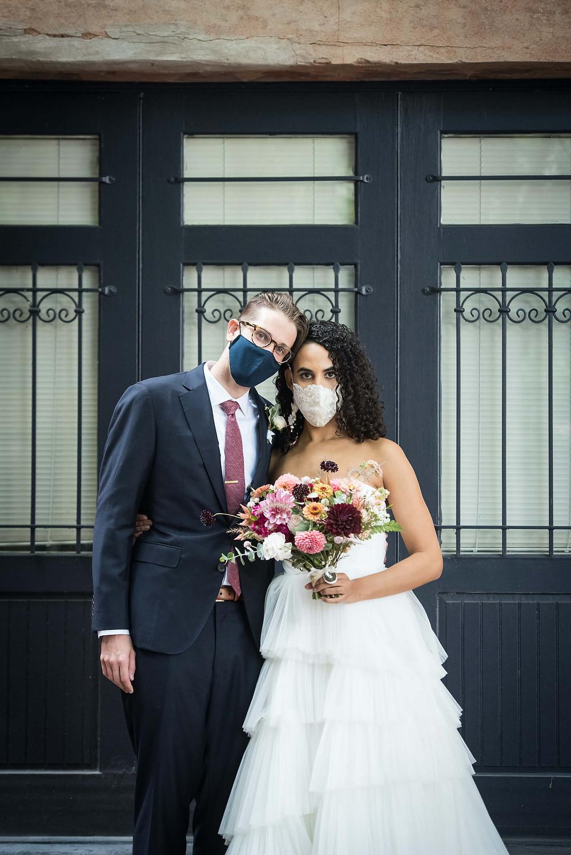 bride and groom wedding mask