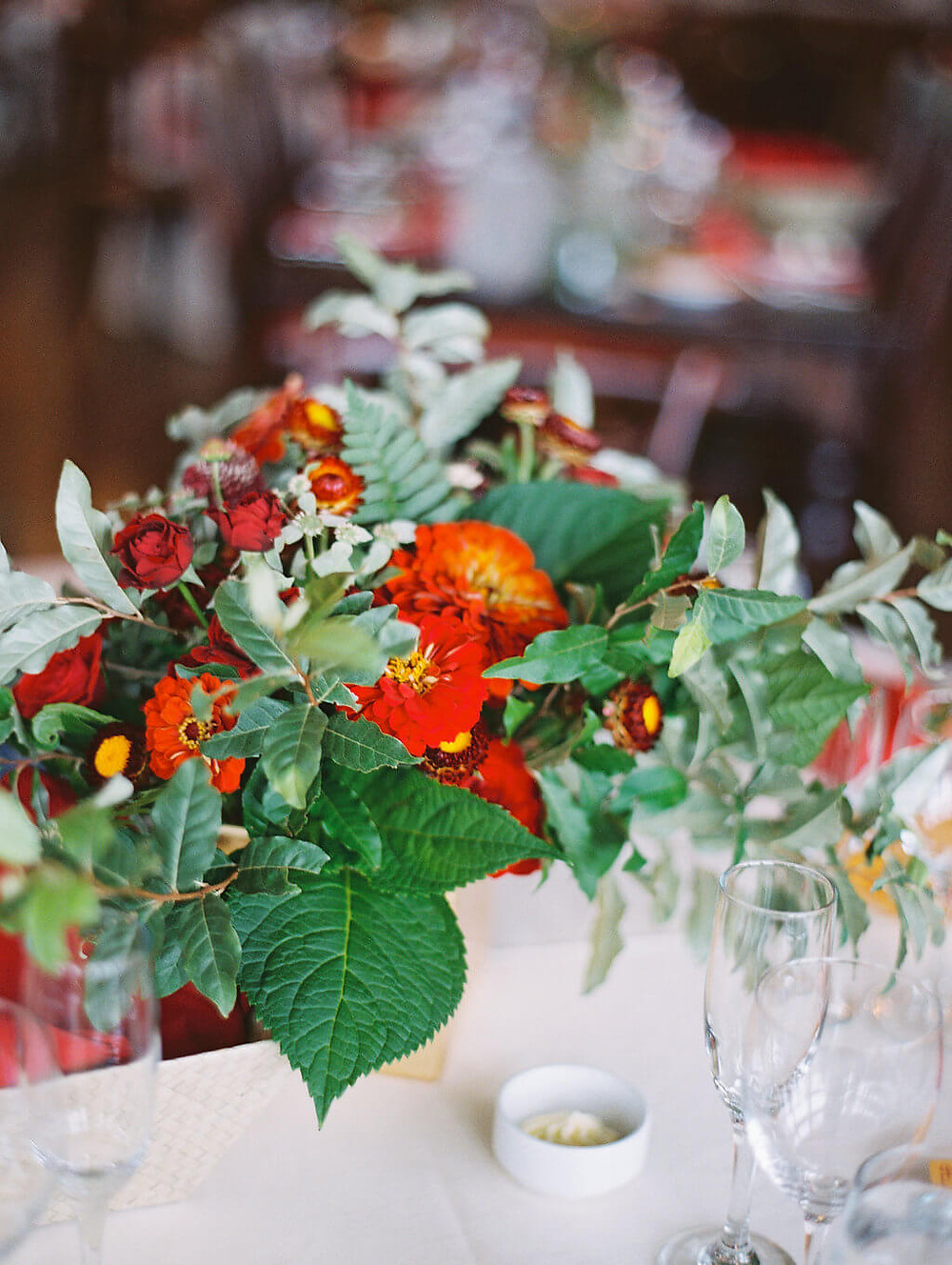 red and gold summer centerpiece