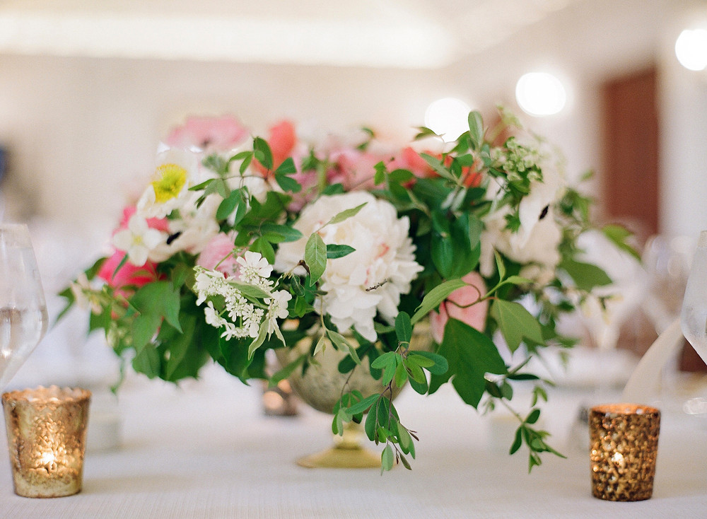 pink and white spring centerpiece