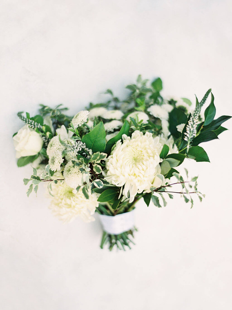 white and greenery bouquet