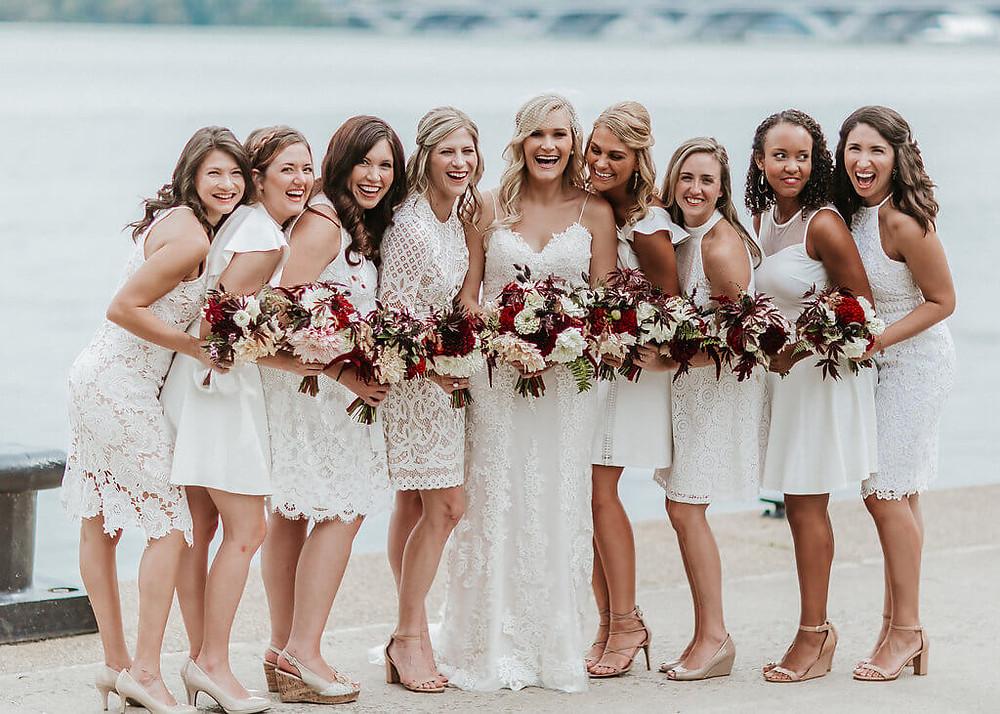 burgundy and white bridesmaids