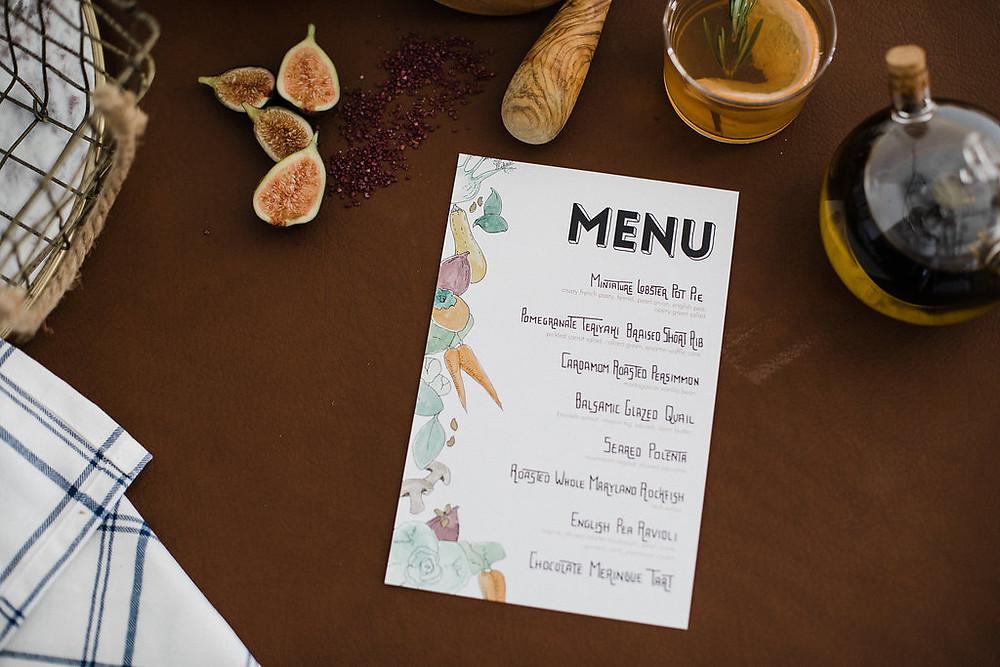 hand crafted wedding menu