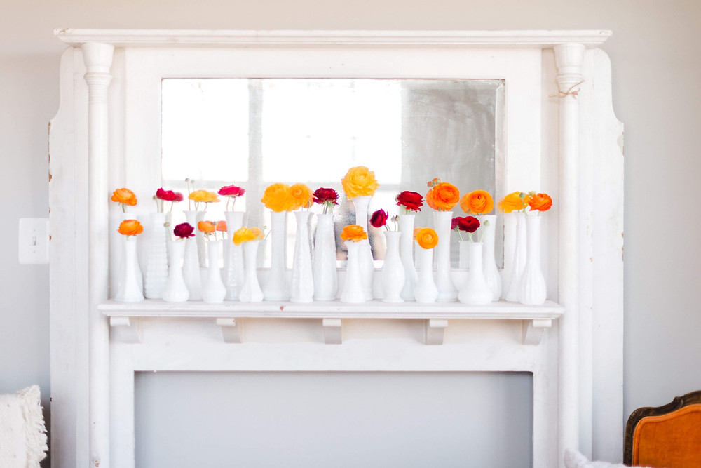 ranunculus milkglass bud vase