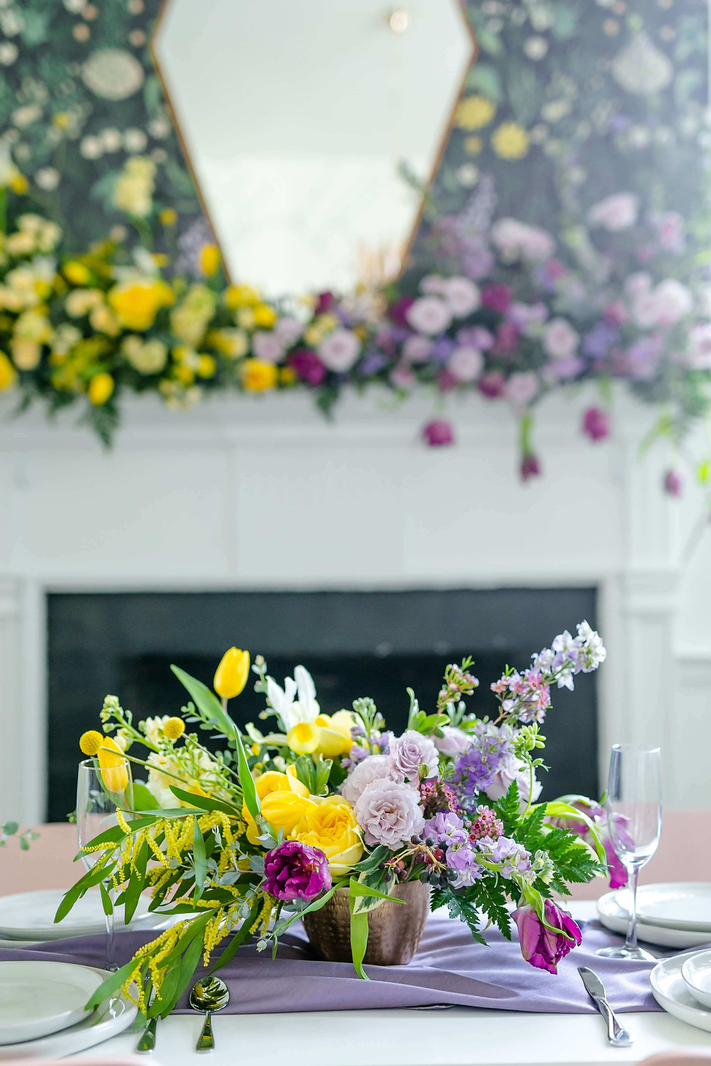 yellow and purple ombre flowers