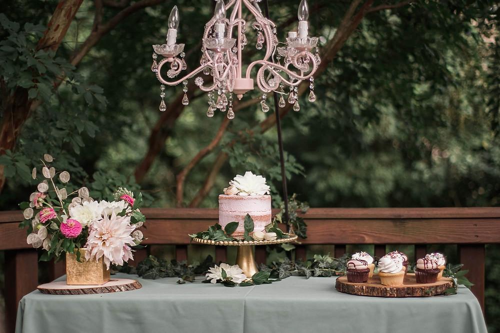 boho sweet sixteen dessert table