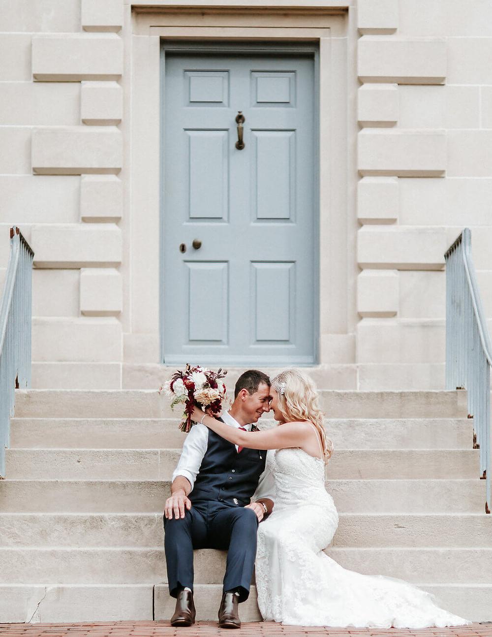 virginia fall bride and groom