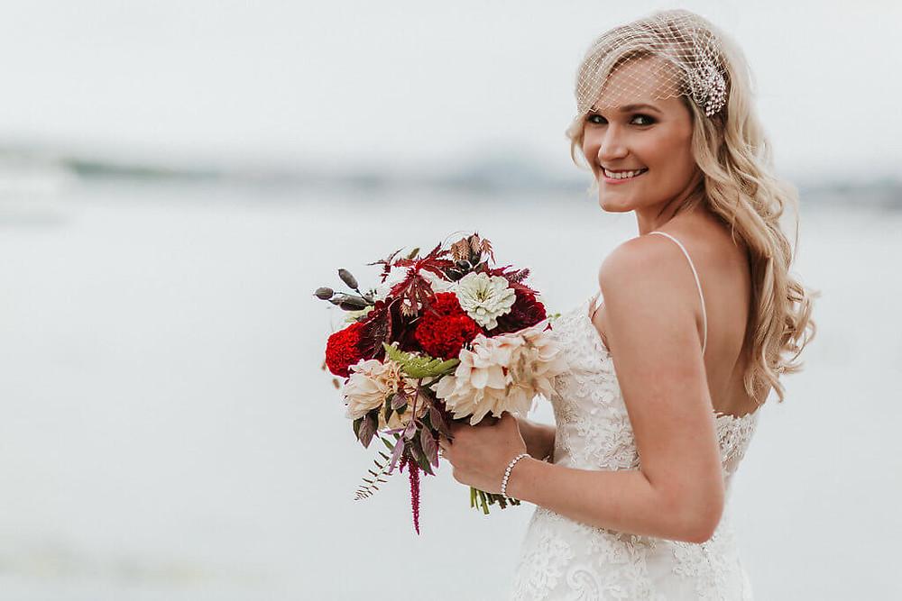 burgundy and cream bridal bouquet