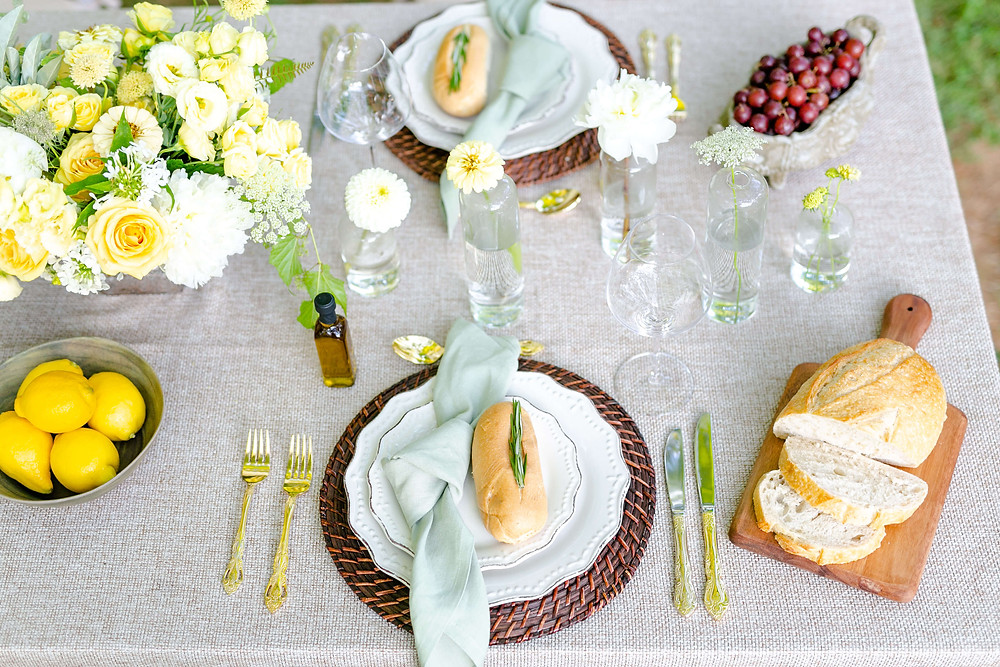white and yellow centerpiece wedding