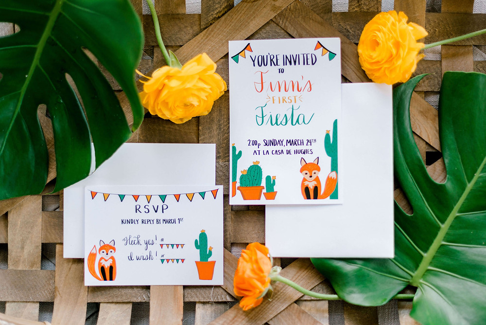 fiesta fox birthday invitations